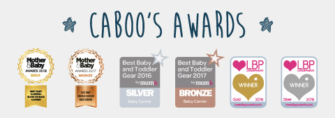 CABOO'S AWARDS  caboo dxgo  MOTHER & BABY AWARDS 2018 GOLD BEST BABY CARRIER/SLING OR BACK CARRIER、MOTHER & BABY AWARDS 2017 BRONZE BEST BABY CARRIER/SLING OR BACK CARRIER、Best Baby and Toddler Gear 2016 by mumii SILVER Baby Carrier、Best Baby and Toddler Gear 2017 by mumii BRONZE Baby Carrier、LBP LOVED BY PARENTS WINNER Gold 2016、LBP LOVED BY PARENTS WINNER Silver 2016