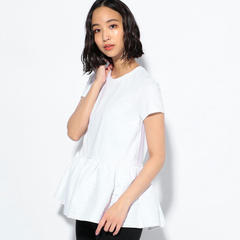 【BORDERS at BALCONY】 WHITE PEPULUM TEE