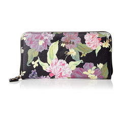 FRILL ROSE FLOWER PRINT ROUND ZIP LONG WALLET