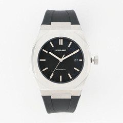P701 Automatic Watch Silver Case with Black Strap