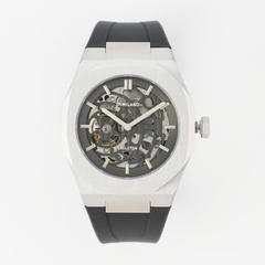 P701 Automatic Skeleton Watch Silver Case with Black Strap