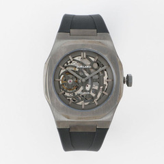 P701 Automatic Skeleton Watch IP Gun Case with Black Strap