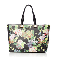 FRILL ROSE FLOWER PRINT TOTE L