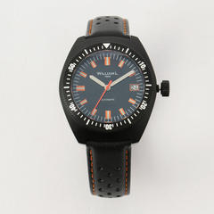 Automatic Vintage Diver 70's Style Black Case Leather / 36mm
