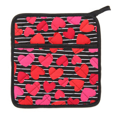 KAHRI HOME RED HEARTS STRIPES POT HOLDER