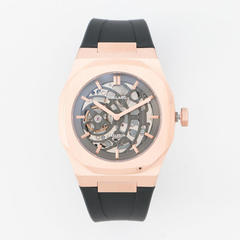 P701 Automatic Skeleton Watch Rose Gold Case with Black Strap