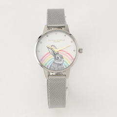 Illustrated Animals - Rainbow Bunny Gold & Silver Mesh 30mm