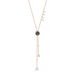 LUCY:NECKLACE RND LAYERED JET/CRY/ROS