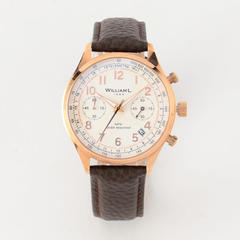 Vintage style Chronograph RG case wht dial Brn buffalo - ROSE GOLD / 40mm