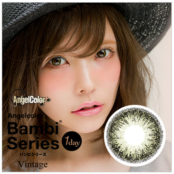 Angelcolor Bambi Series Vintage 1day 1DAY/14.2mm/度あり・度なし/10枚入り/ヴィンテージオリーブ